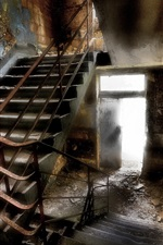Preview iPhone wallpaper Staircase, interior, ruins