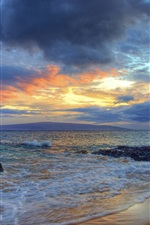 Preview iPhone wallpaper Sunset, Secret Beach, Makena, Maui, Hawaii, waves, clouds