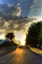 Sunset, road, trees, fence, sky, clouds