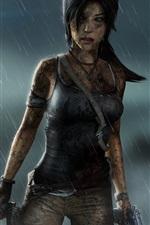 Preview iPhone wallpaper Tomb Raider, Lara Croft, rainy night