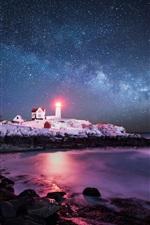 Preview iPhone wallpaper USA, Atlantic Ocean, island, lighthouse, light, sky, stars