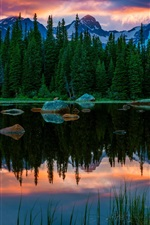 USA, Colorado, Red Rock Lakes, lake, mountain, forest, sunset