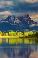 Preview iPhone wallpaper USA, Wyoming, Grand Teton National Park, mountains, water, forest, morning