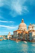 Preview iPhone wallpaper Venice, Italy, city, buildings, sea, boat, canal, sky, clouds