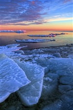 Preview iPhone wallpaper Winter, sea ice, morning, sunrise, blue