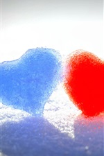 Winter snow, blue and red love heart