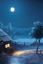 Preview iPhone wallpaper Art design, night, moon, house, fields, trees