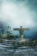 Preview iPhone wallpaper Art landscape, mood, park, trees, fog, fountain, flowers