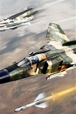 Preview iPhone wallpaper Art painting, the MiG-23 Soviet fighter jets, rocket