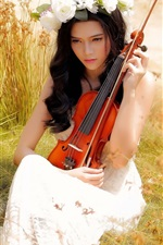 Preview iPhone wallpaper Asian girl, violin, music, summer, grass, white rose flowers