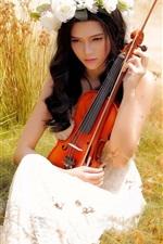 Asian girl, violin, music, summer, grass, white rose flowers