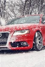 Audi S4 rote Auto im Schnee Winter
