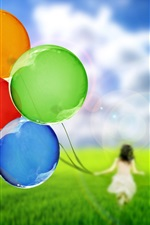 Preview iPhone wallpaper Balloons, girl, silhouette, nature, grass, green, sky