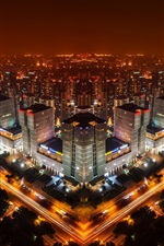 Preview iPhone wallpaper Beijing, China, night city skyline, buildings, lights