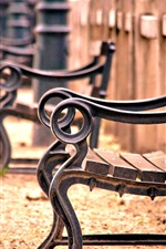 Preview iPhone wallpaper Bench, fence, railing, wood, blur