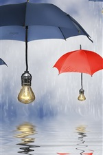 Guarda-chuvas azuis, chapéus de sol, lâmpadas, chuva, água, reflexão