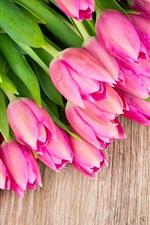 iPhone обои Букет цветов, розовые тюльпаны, древесных плит