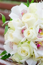 Preview iPhone wallpaper Bouquet flowers, white rose, orchids, bench