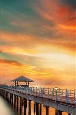 Preview iPhone wallpaper Bridge, pier, coast, sea, sunset