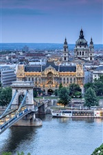 Preview iPhone wallpaper Budapest, Szechenyi Chain Bridge, Danube, river, city, architecture