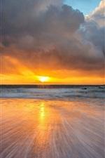 Preview iPhone wallpaper Coast landscape, sea, ocean, wave, sunset, reflection