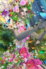 Preview iPhone wallpaper Creative design girl, butterfly, flowers, trees