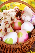 Easter, basket, eggs, willow, toys sheep, yellow flowers
