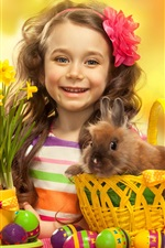 Preview iPhone wallpaper Easter eggs, cute girl, rabbit, flowers