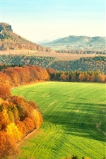 Preview iPhone wallpaper Elbe Sandstone Mountains, Germany, autumn, hills, trees, fields, yellow