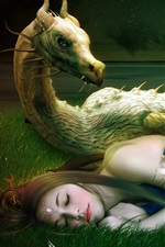 Preview iPhone wallpaper Fantasy art, girl, asleep, dragon