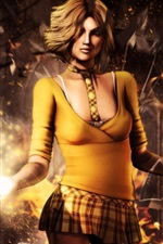 Preview iPhone wallpaper Fantasy yellow clothes girl, magic