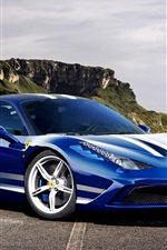 Preview iPhone wallpaper Ferrari 458 Speciale Italia blue supercar