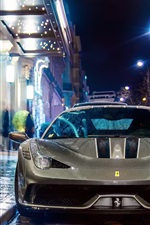 Preview iPhone wallpaper Ferrari 458 Speciale supercar at night street, Paris, France