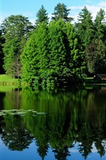 Preview iPhone wallpaper France, nature landscape, trees, greenery, lake, water reflection