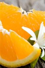 Preview iPhone wallpaper Fruit, orange, white flower, green leaves