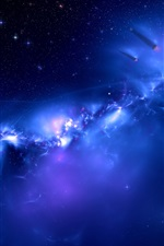 Preview iPhone wallpaper Galaxy blue space, distant planets
