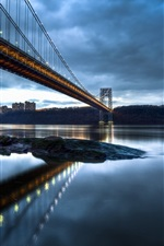 Preview iPhone wallpaper George Washington Bridge, New Jersey, Manhattan, Hudson River, evening