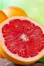 Грейпфрут, фрукты, листья, оранжевый, красный