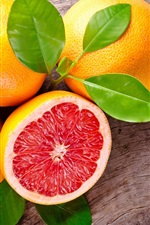 Preview iPhone wallpaper Grapefruit, fruit, leaves, red, orange