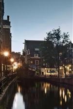 Preview iPhone wallpaper Holland, Amsterdam, street, canal, evening, dusk, lights, house
