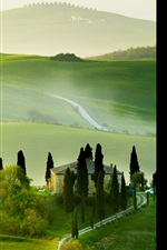 Preview iPhone wallpaper Italy, Tuscany, nature summer, countryside, house, green, beautiful landscape