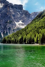 Preview iPhone wallpaper Italy, lake, forest, mountains, trees, house