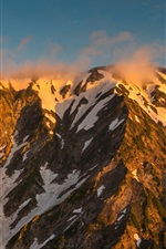 Preview iPhone wallpaper Japan Alps, Nagano Prefecture, mountains, sky, clouds