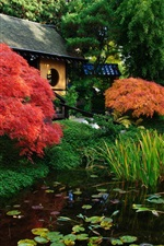 Preview iPhone wallpaper Japanese scenery, garden, pond