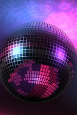 Preview iPhone wallpaper Music lights, Disco Ball, purple, 3D pictures