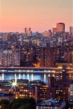 Preview iPhone wallpaper New York City, Manhattan, evening, sunset, skyscrapers, lights