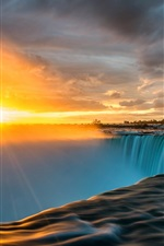 Preview iPhone wallpaper Niagara Falls, sun rays, sunrise, clouds