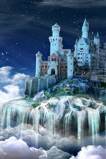 Preview iPhone wallpaper Night, castle, fairy tale, clouds, creative design