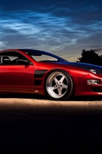 Nissan 300ZX red supercar, dusk, evening