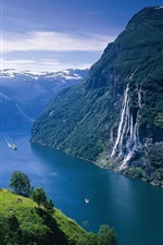 Preview iPhone wallpaper Norway landscape, fjord, mountains, river, ship, house, waterfalls